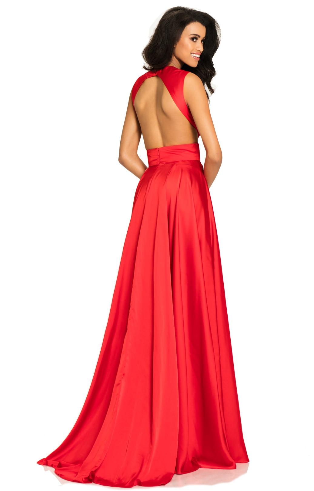 Red Long Chiffon Dress