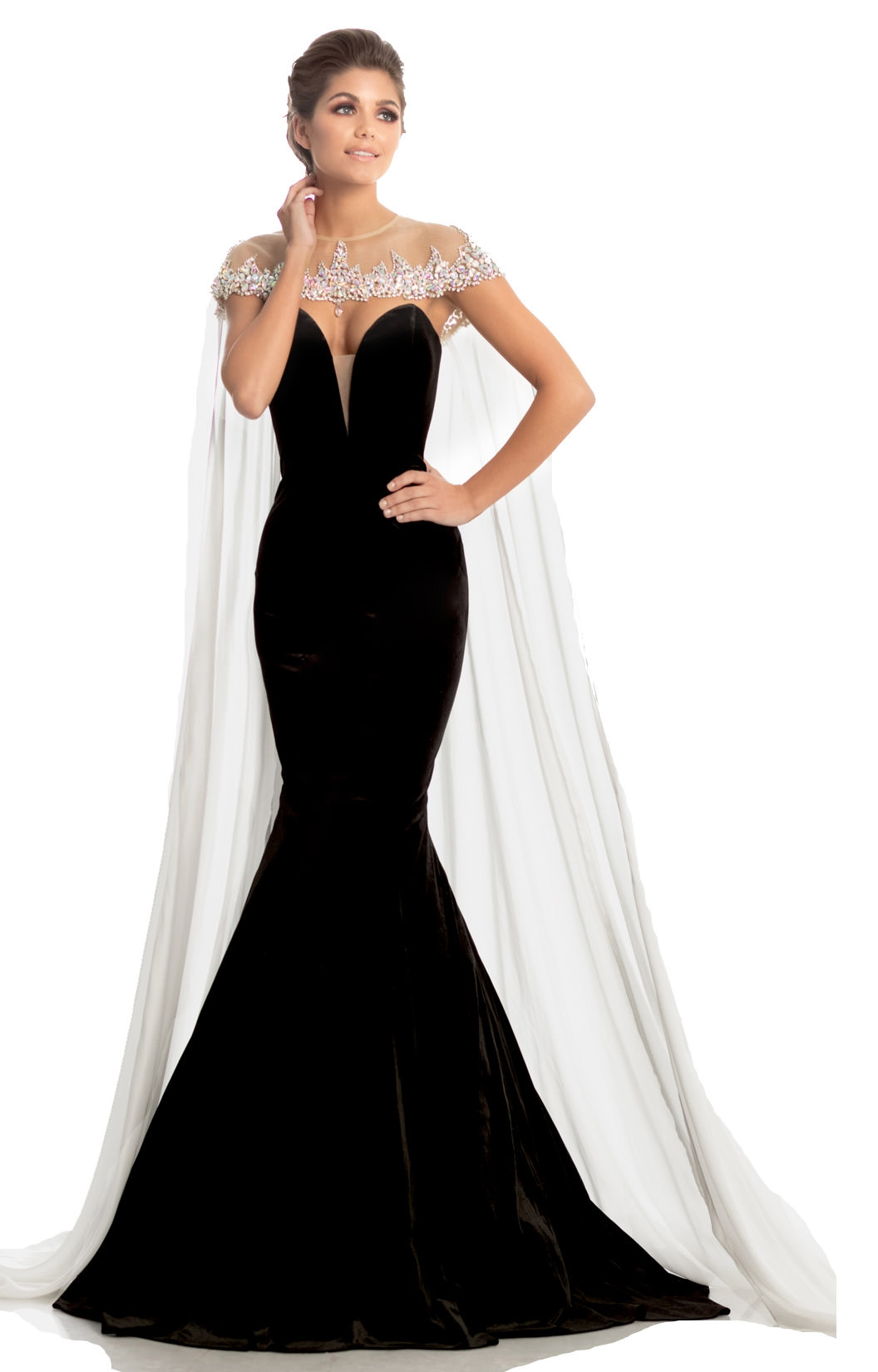 a3f93a3f0ae1 Johnathan Kayne 8201 - Sexy Strapless Mermaid Cape Dress