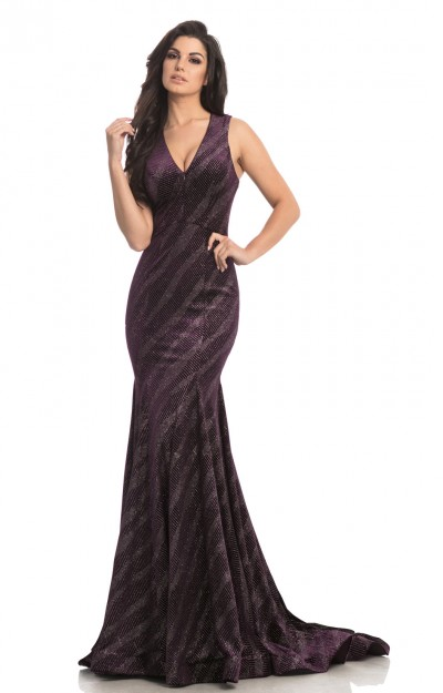 V-Neckline Fitted Shimmering Velvet Mermaid Dress