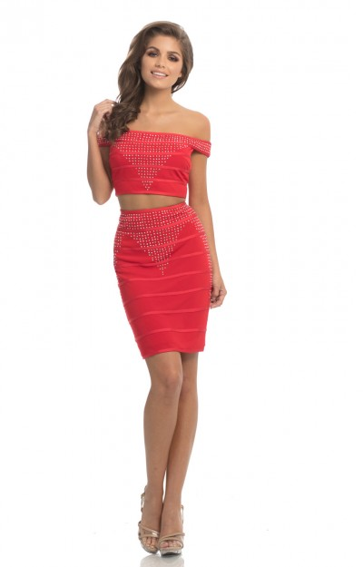 Off the Shoulder 2 Piece Fitted Short Dress