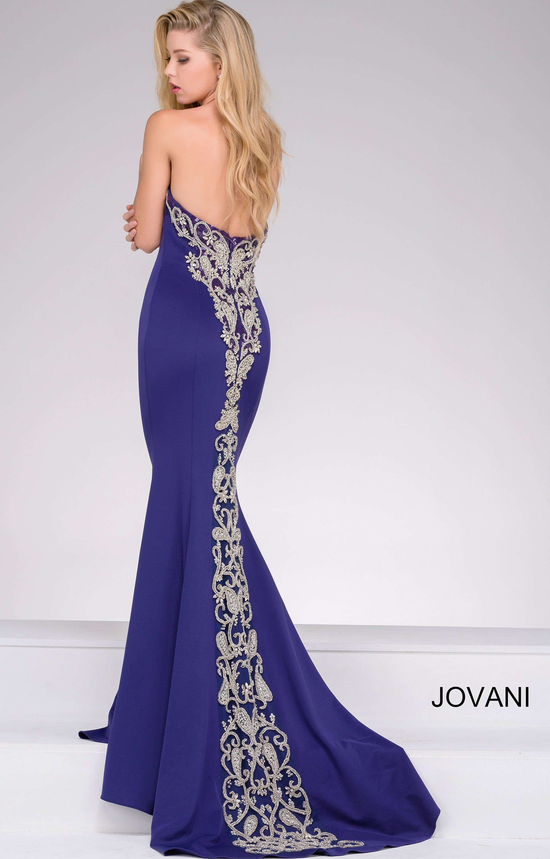 Jovani 20015 Fit And Flare Dress With Dramatic Back