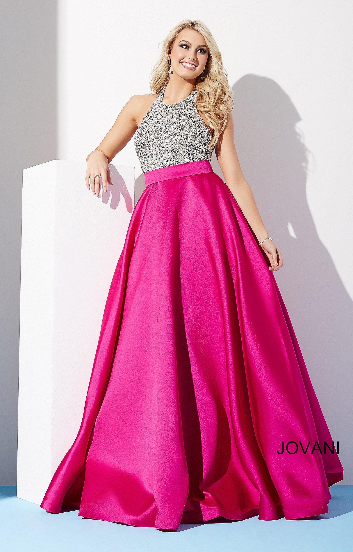 Jovani 29160 Rhinestone Halter Satin Ball Gown Dress