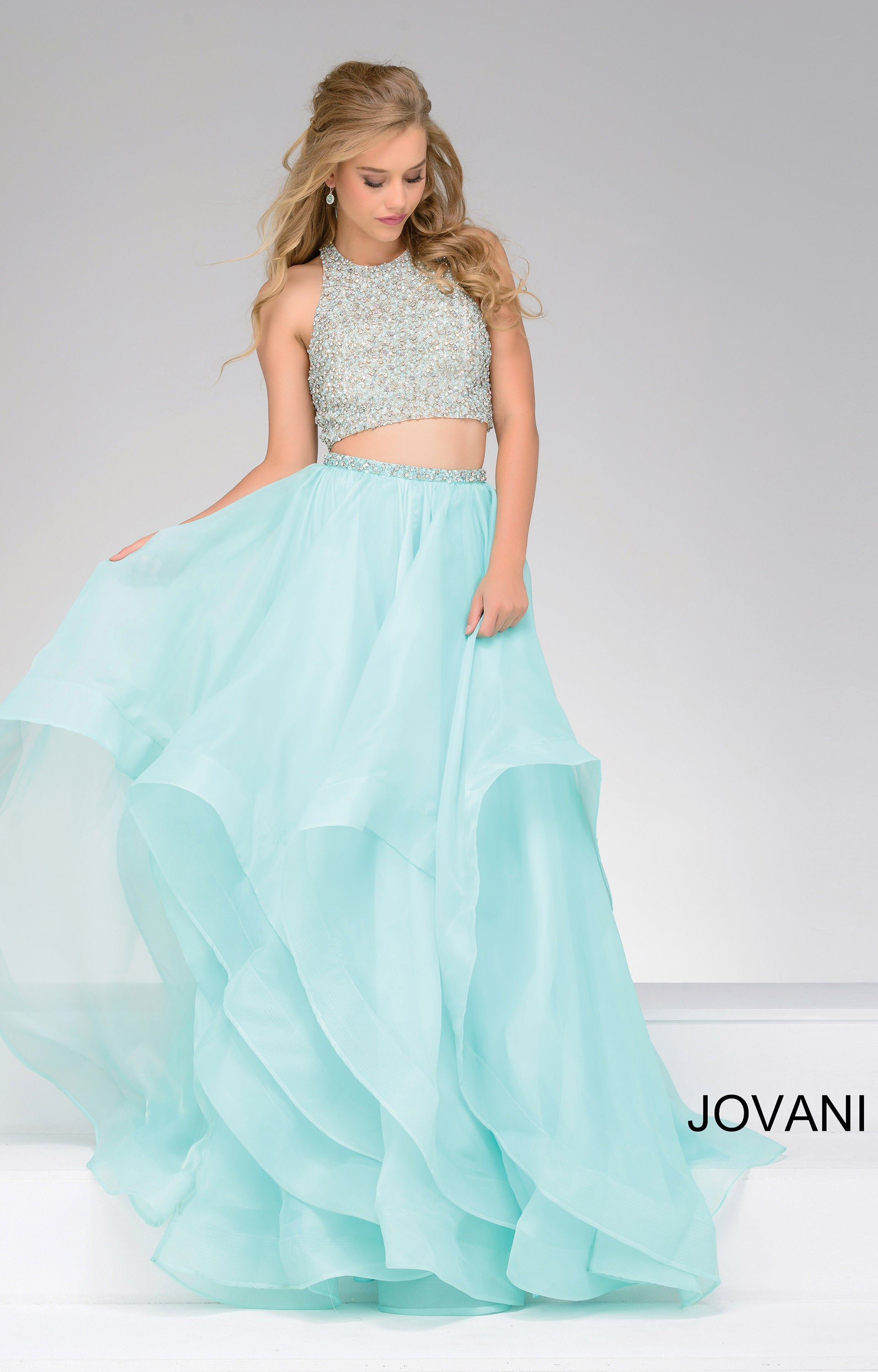 Jovani 33220 - 2 Piece Beaded Halter top with Tulle Layered Skirt ...