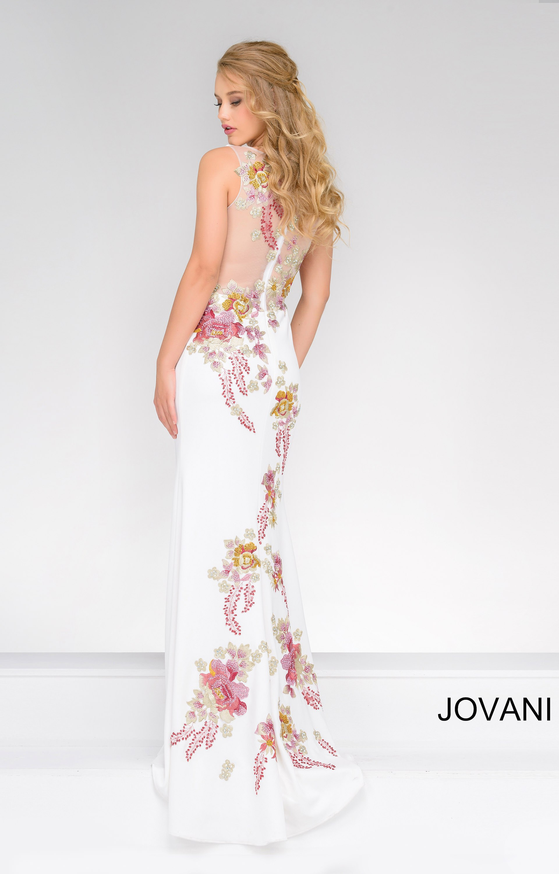 Jovani 33679 Floral Embroidered Jersey Dress Prom Dress