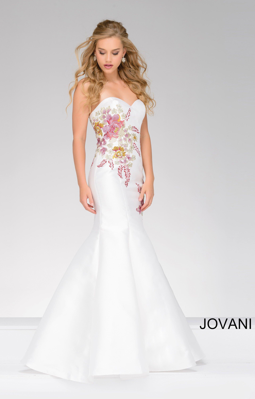 Jovani 33689 Flower Embroidery Mermaid Dress Prom Dress