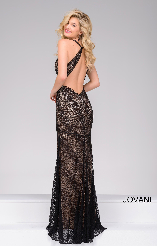 Jovani 33939 High Slit Dress With Open Back Prom Dress
