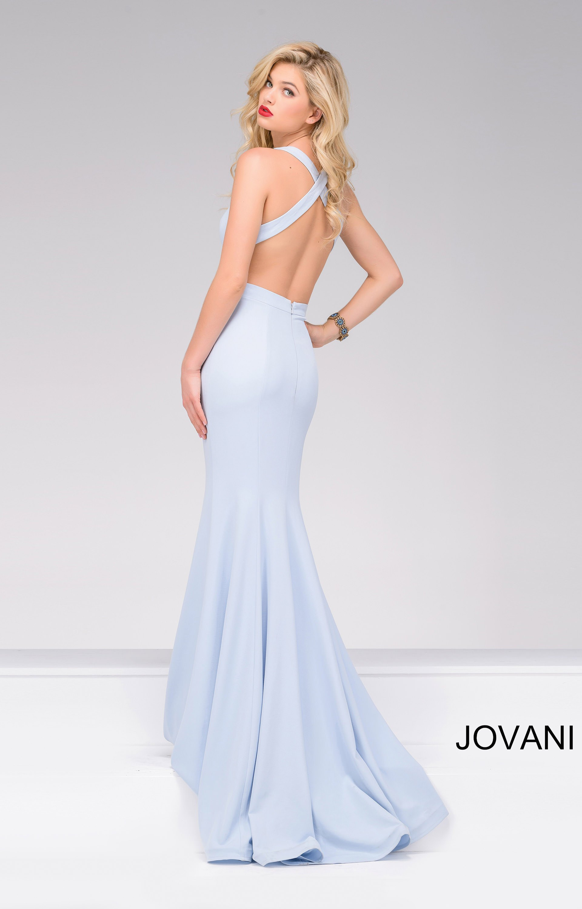Jovani 34110 Simple No Beads Halter Fitted Open Back