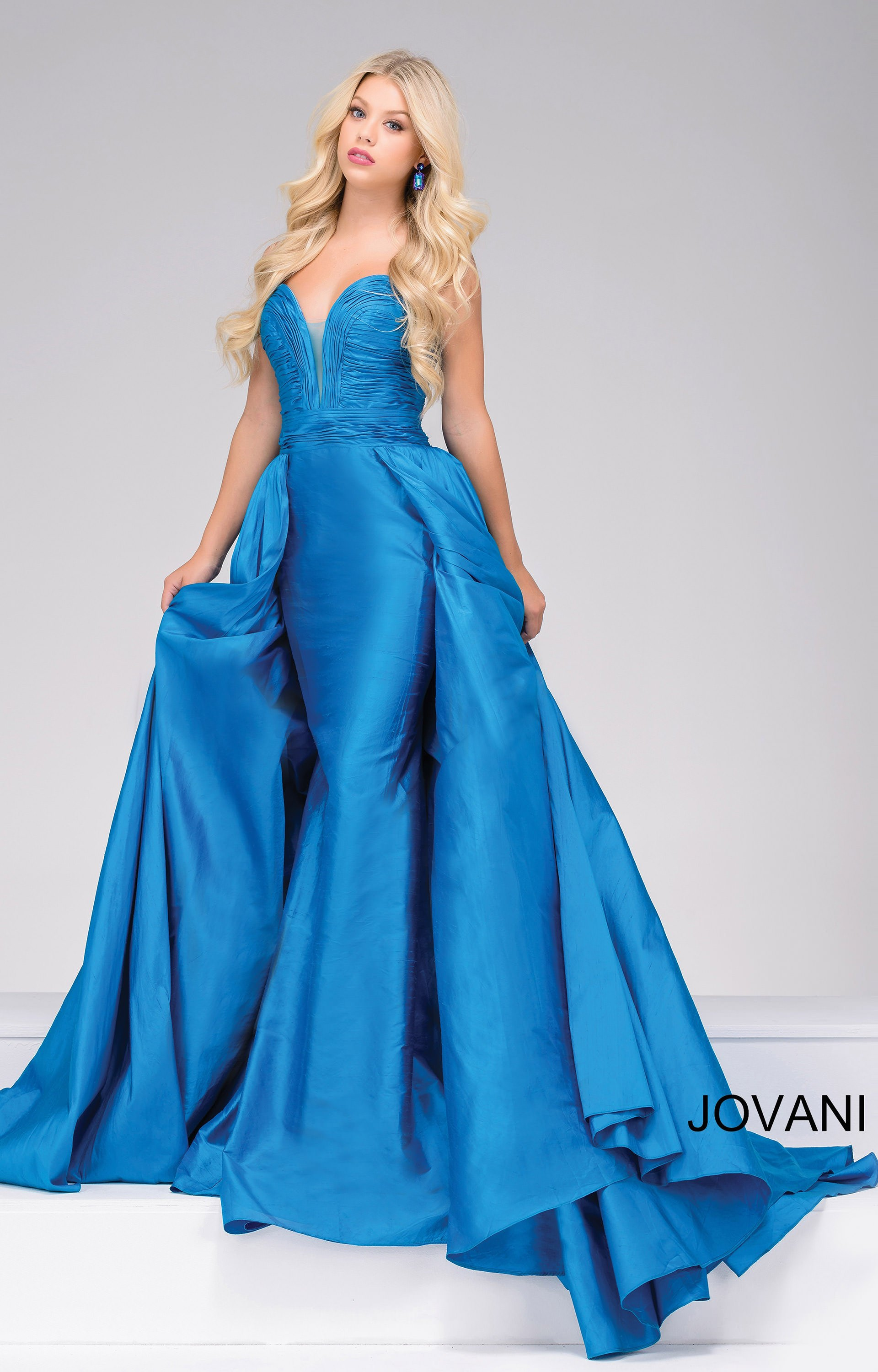 Jovani 36163 Sleeveless Ballgown With Cape Train Prom Dress