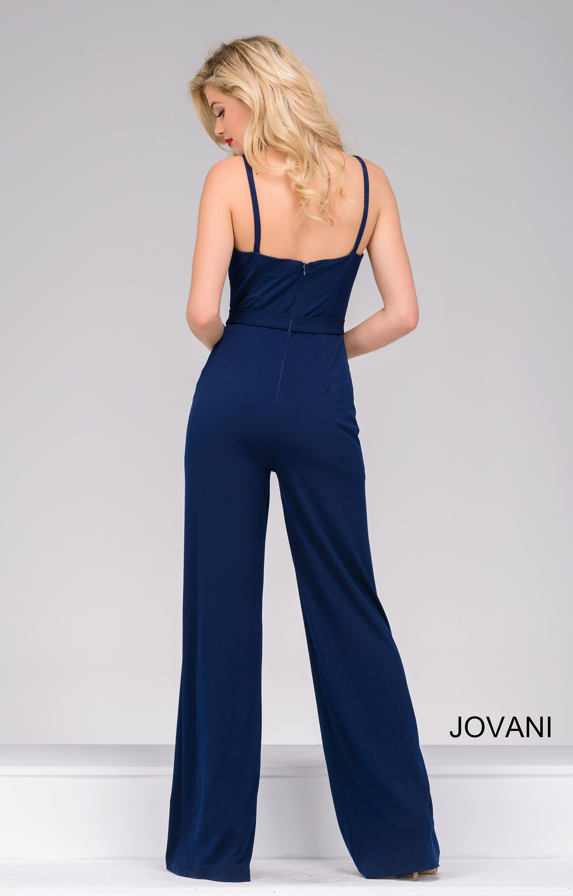 Jovani 36223 Fitted Formal Jumpsuit With Thin Straps