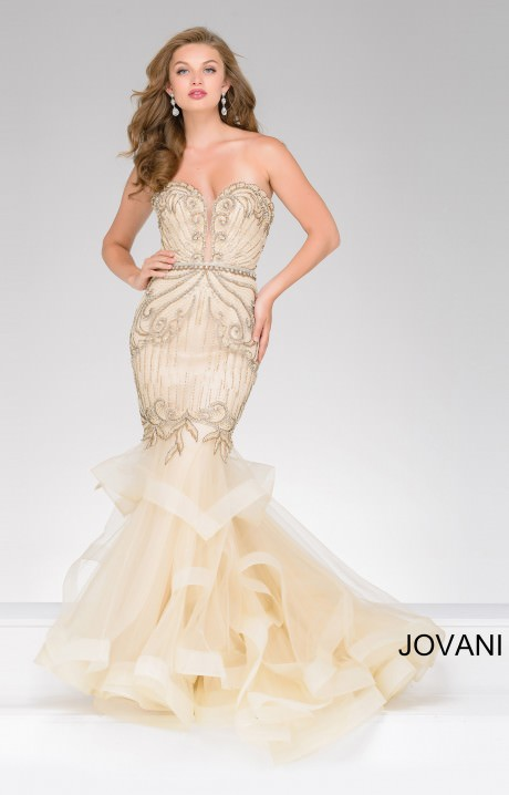Jovani 36984 Layered Tool Mermaid Dress Prom Dress