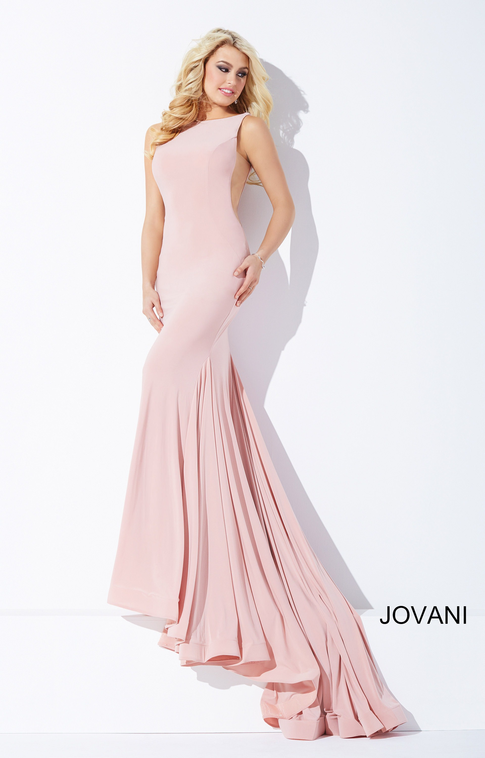 Jovani 37592 Sexy And Simple Jersey Dress With Long