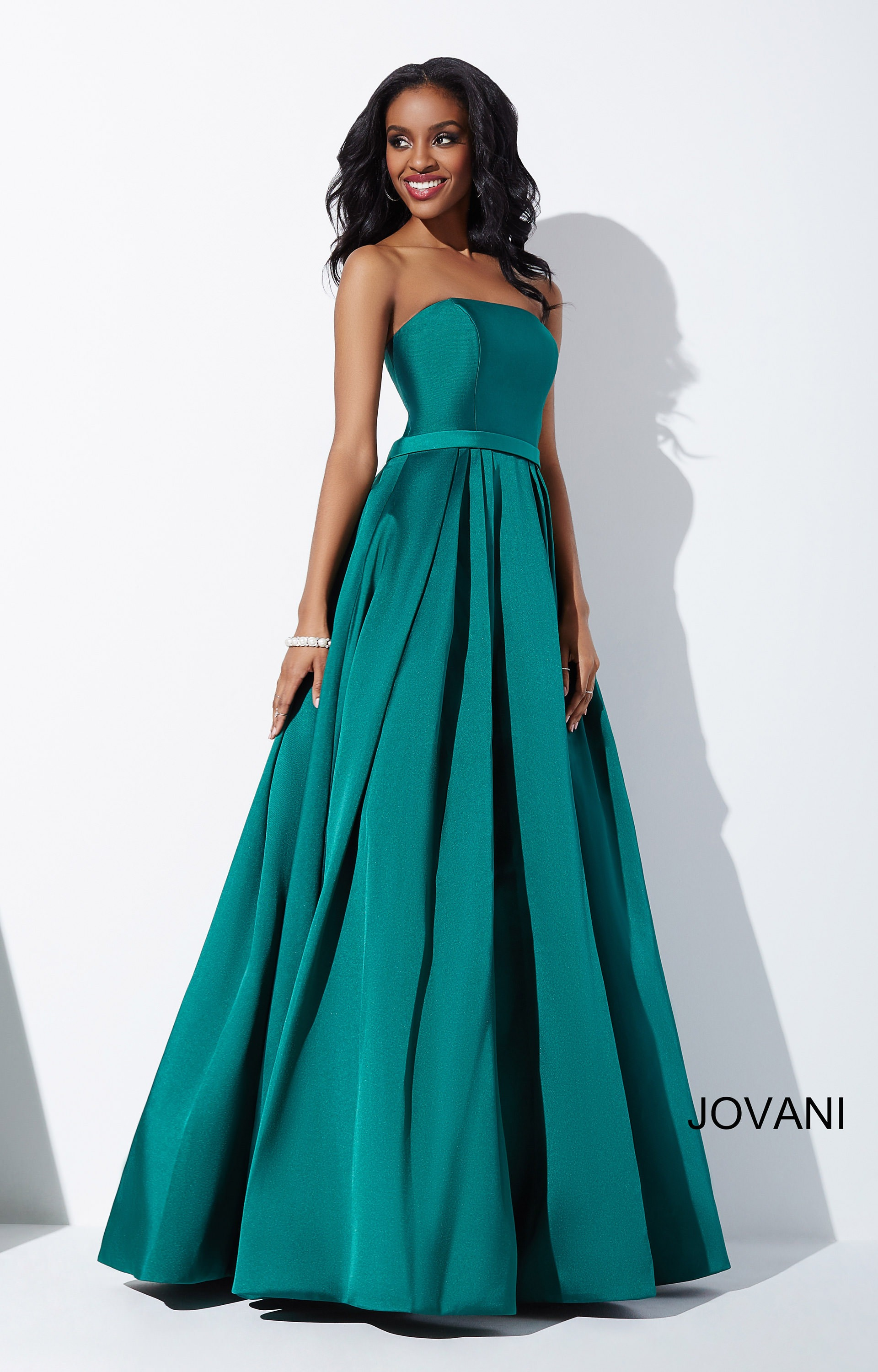 Jovani 39243 - Simple and Strapless A line Prom Dress