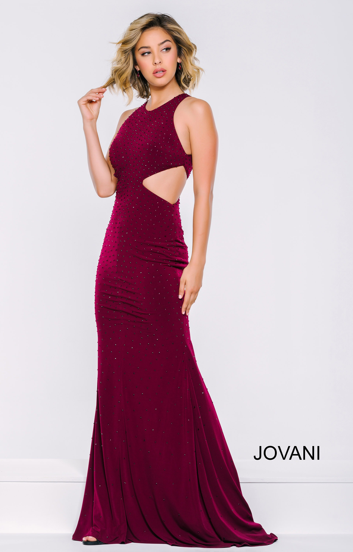 Jovani 39798 Colored Rhinestone Jersey Dress With Side