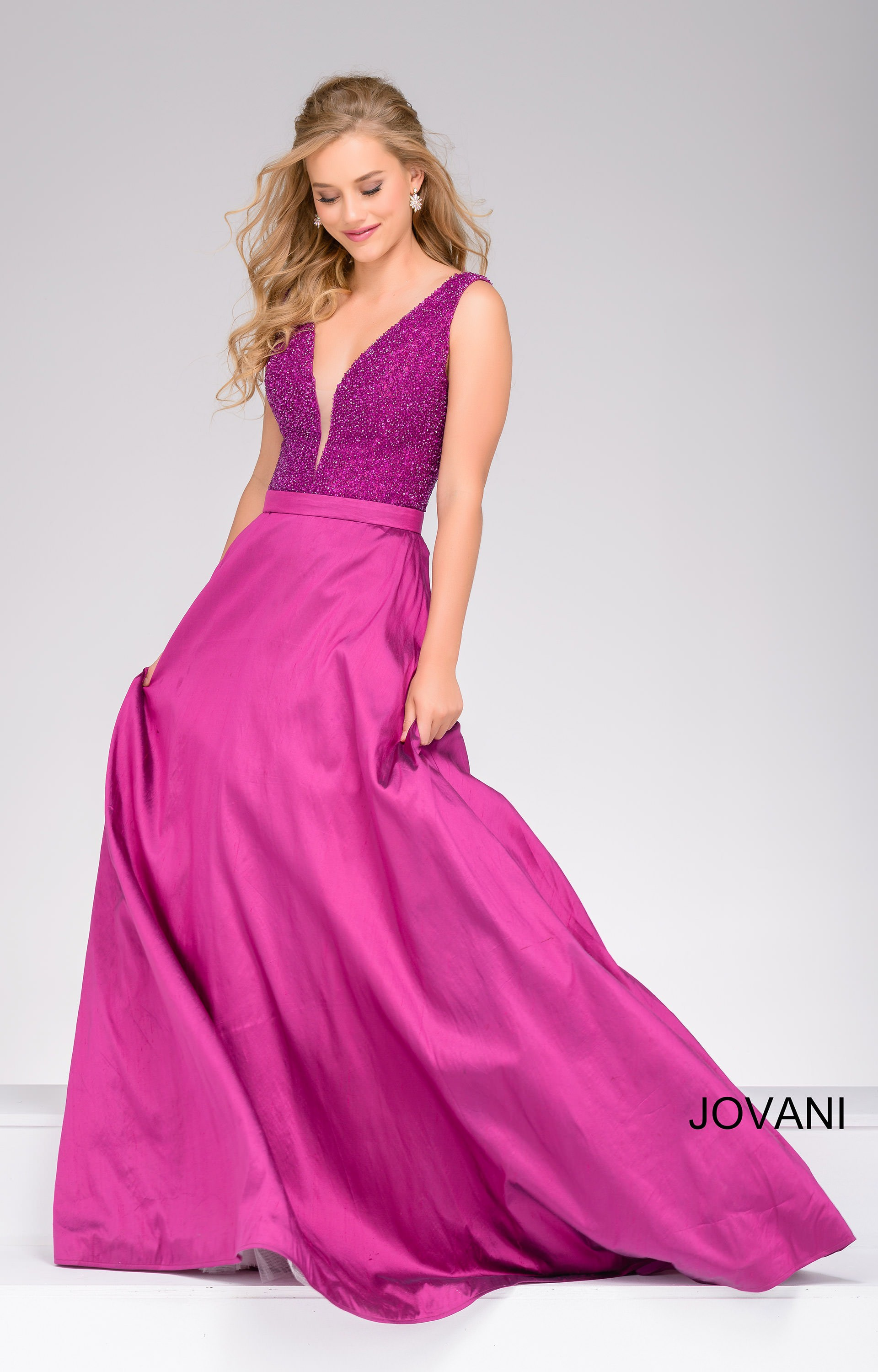 Jovani 40712 Beaded Bodice Deep V Neckline Ball Gown