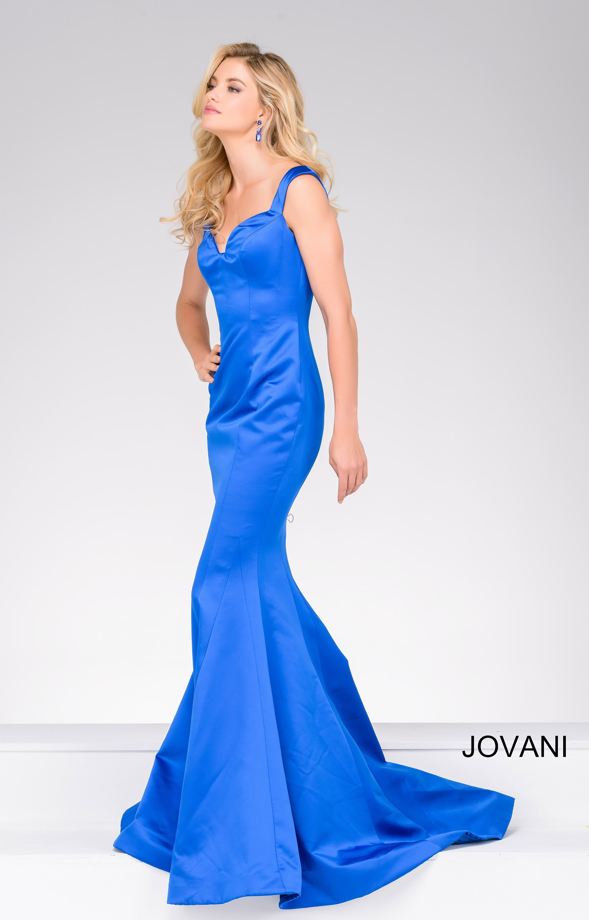Jovani 40720 Satin Sleek Fit And Flare Mermaid Dress