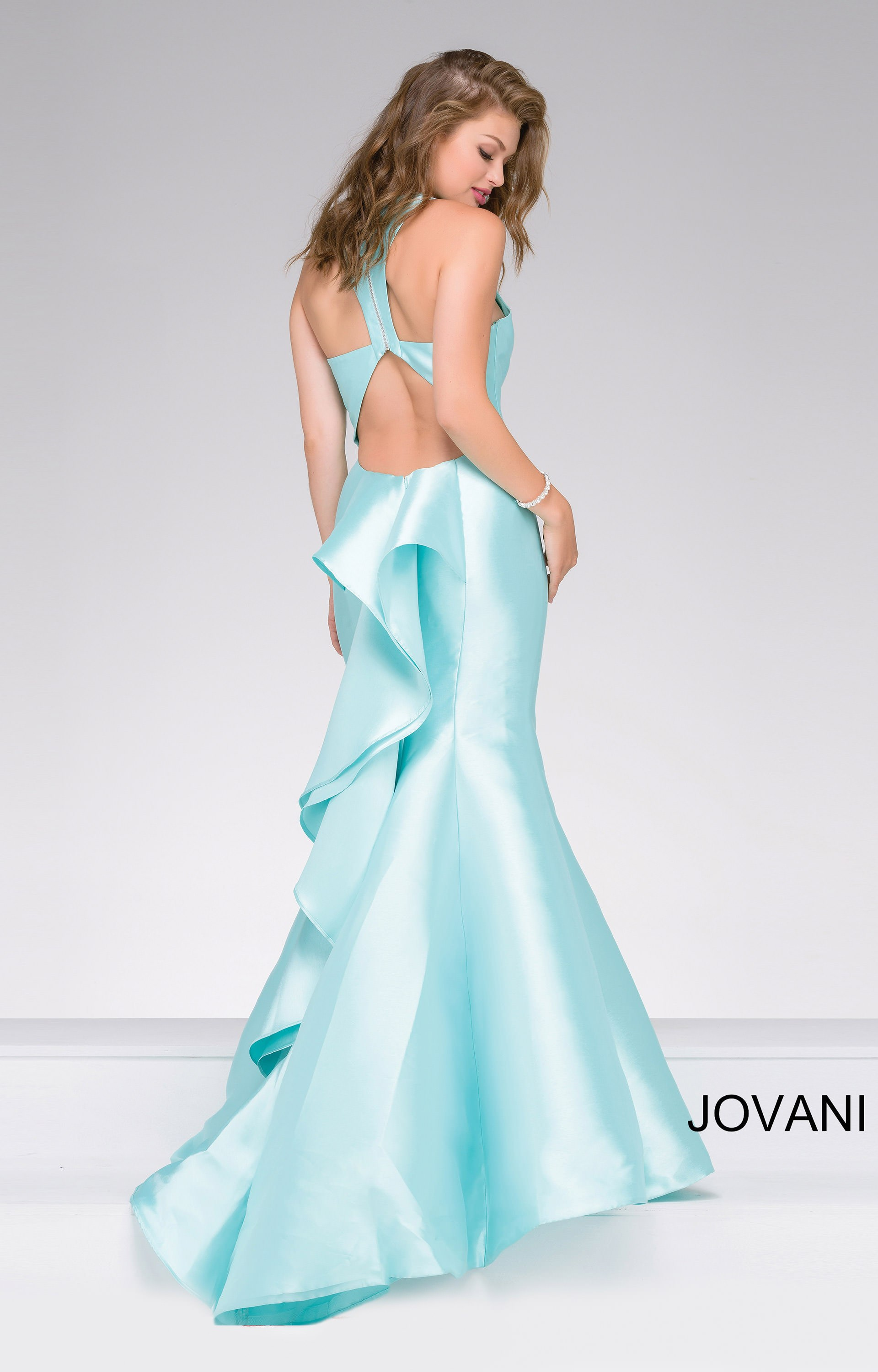 Jovani 40780 - Shiny Satin Fit and Flare with Ruffle Detail Prom Dress