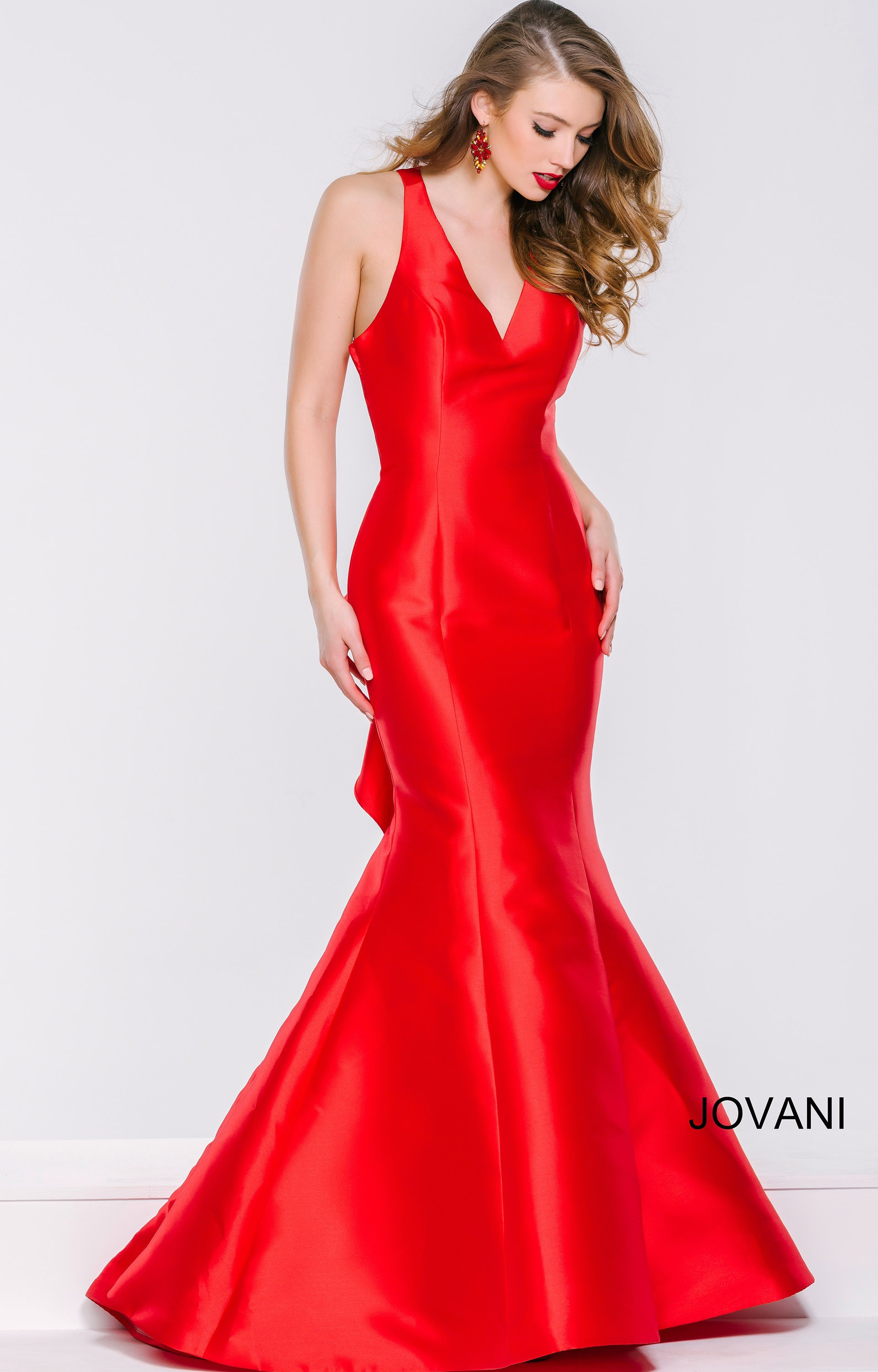 Jovani 40780 Shiny Satin Fit And Flare With Ruffle