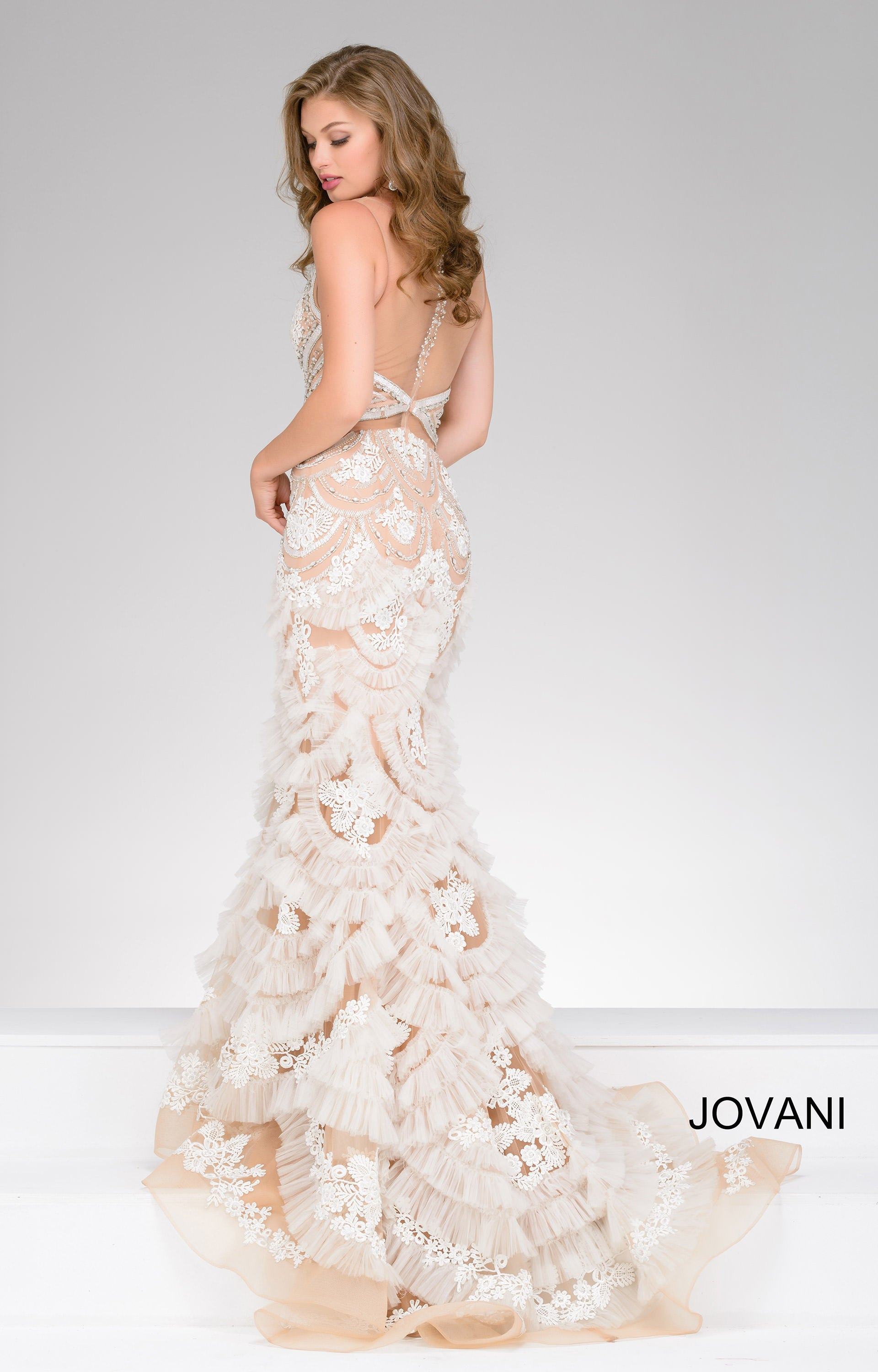 Jovani 41592 Dramatic Fit And Flare Dress With Illusion