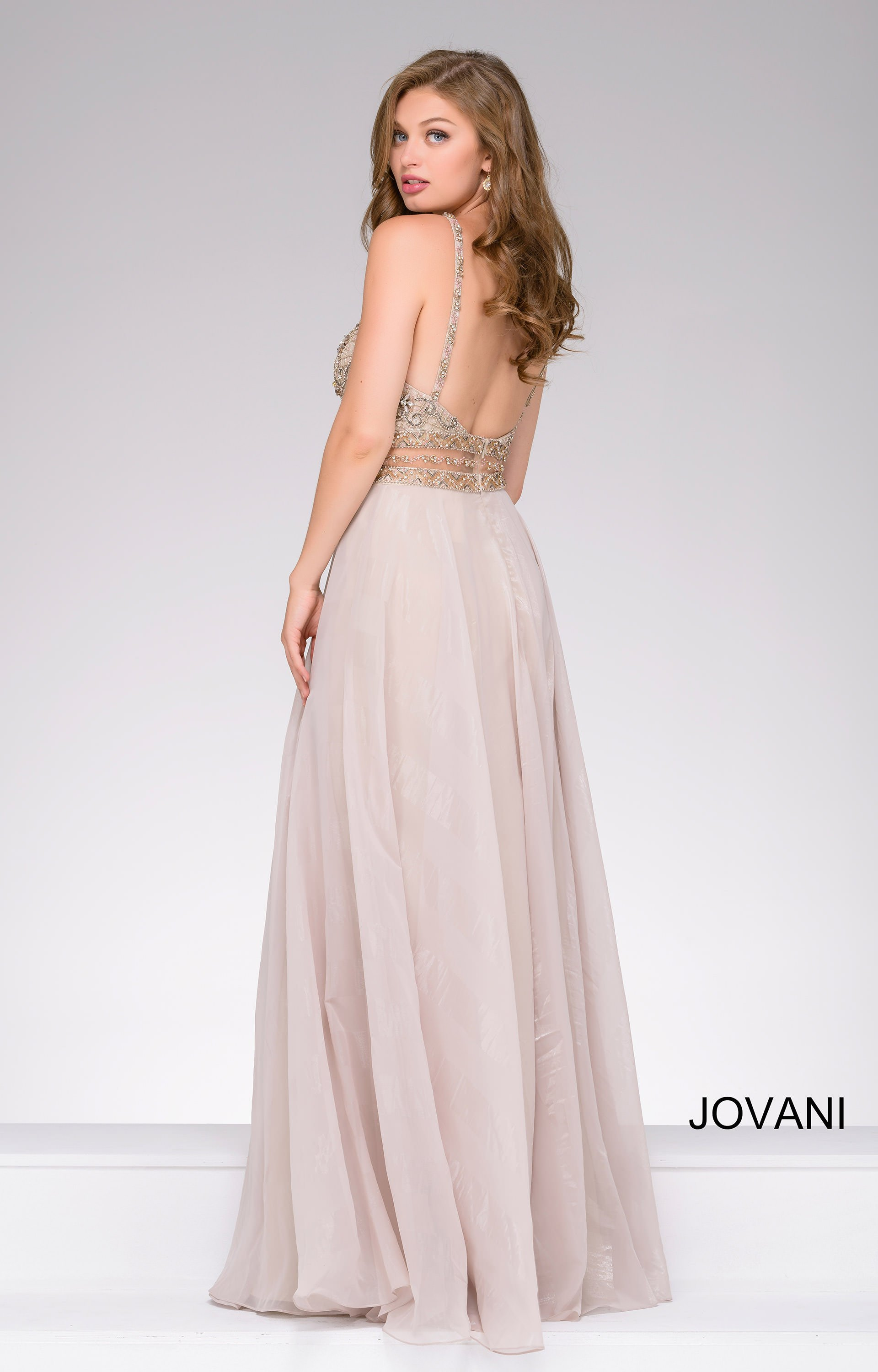 Jovani 41597 Bedazzled Halter High Neck Dress With