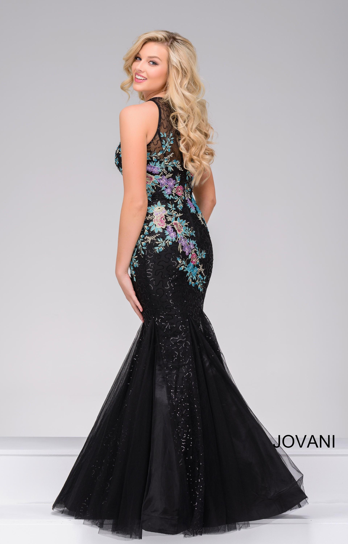 Jovani 41661 Flower Printed Sequined Mermaid Dress Prom