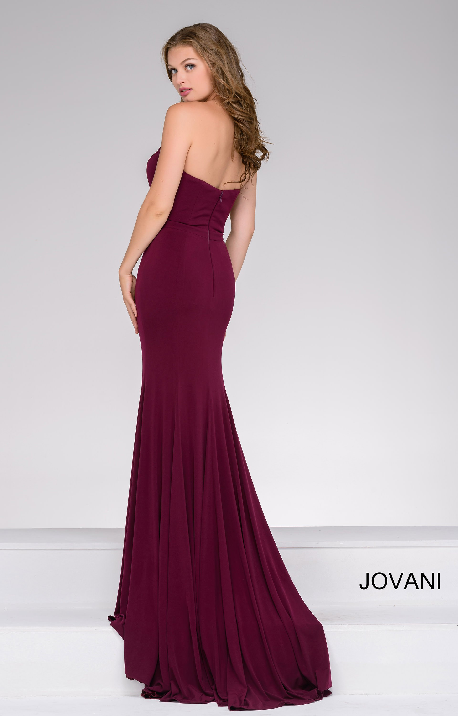 Jovani 42842 - Strapless Deep V neckline Jersey Dress Prom