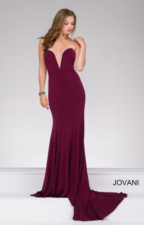 Jovani 42842 Strapless Deep V Neckline Jersey Dress Prom