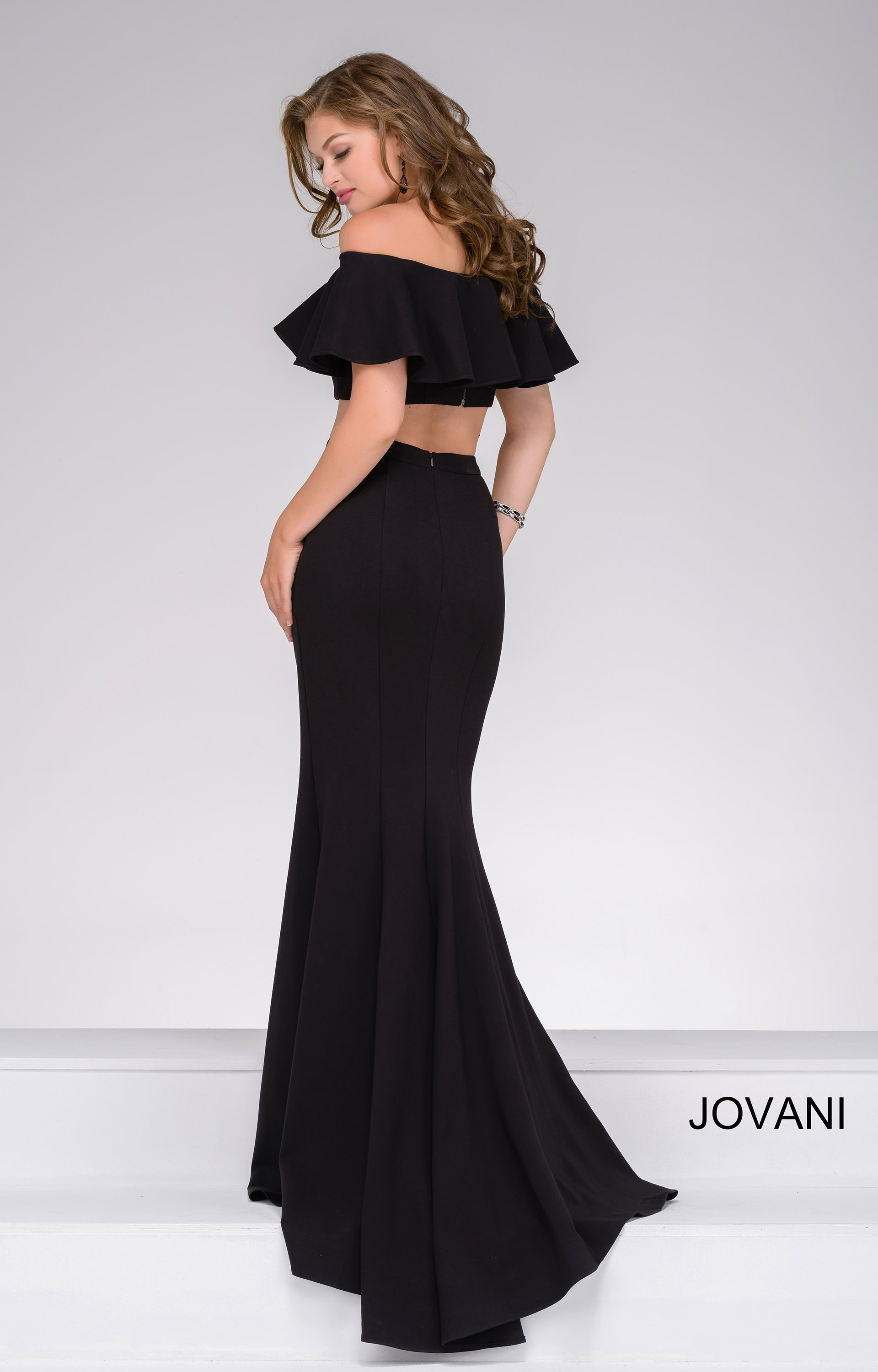 Jovani 45164 Strapless Flounce Top With Fitted Skirt