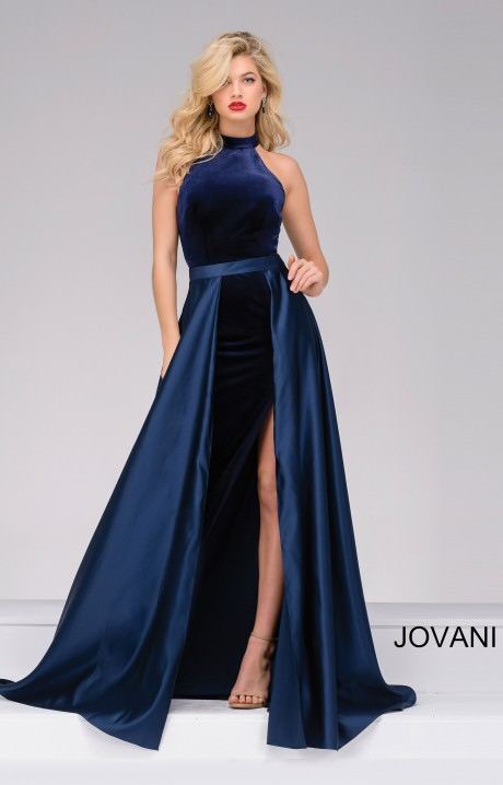 Jovani 45182 Simple Halter Velvet Dress With A