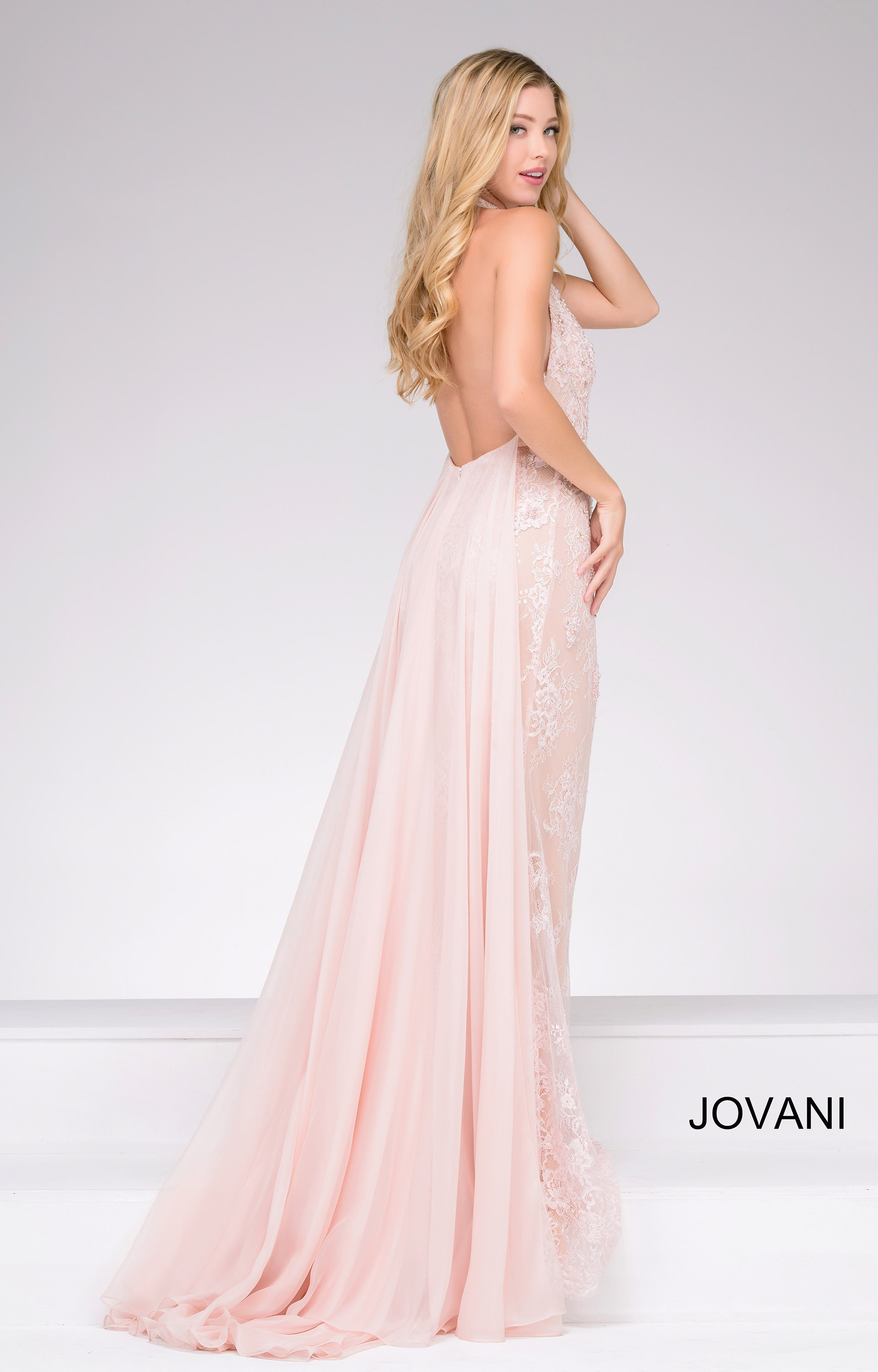 Jovani 45727 Completely Lace Halter Dress With An Open