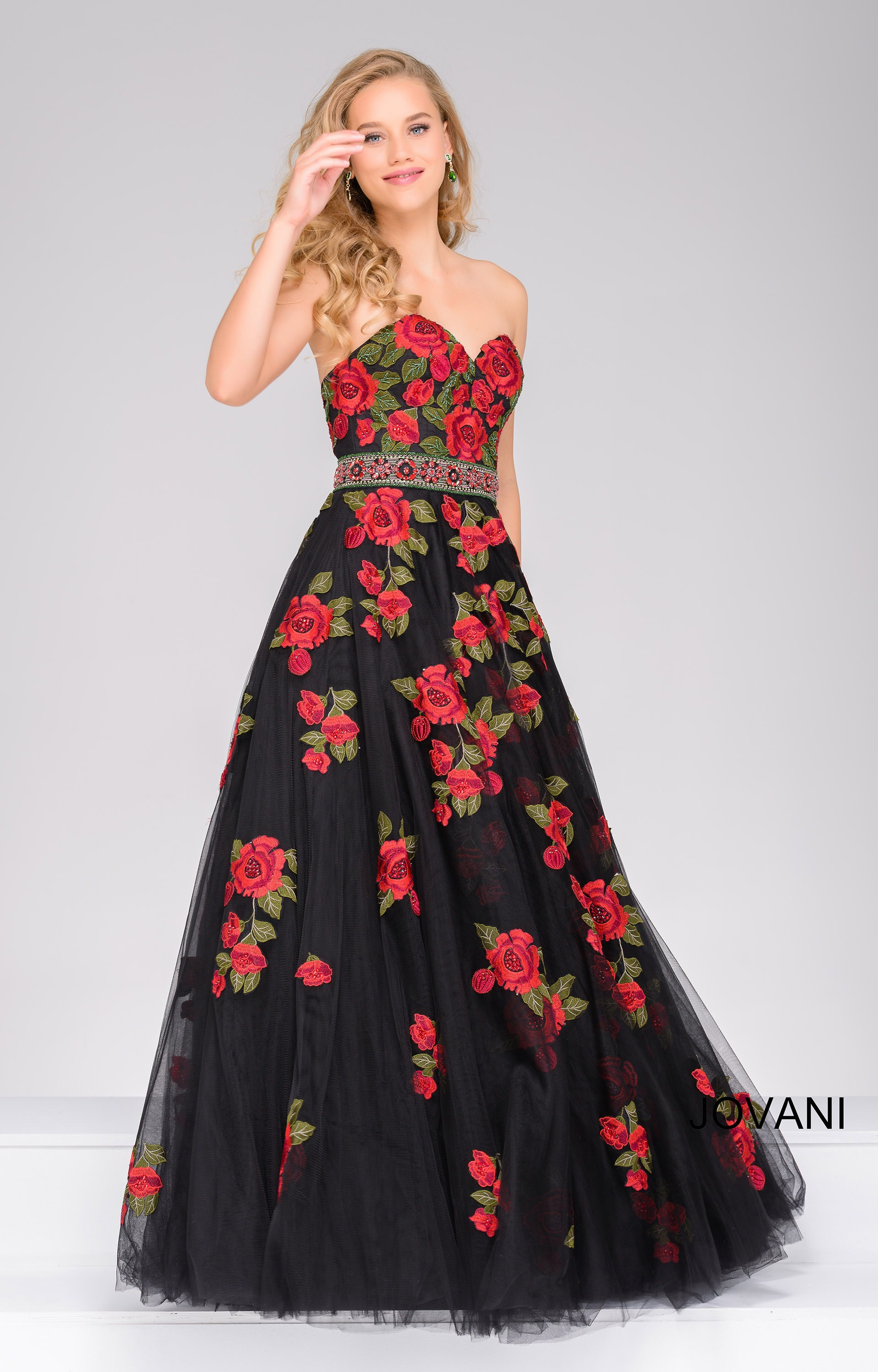 Jovani 45741 Sweetheart Strapless Rose Printed Ball Gown