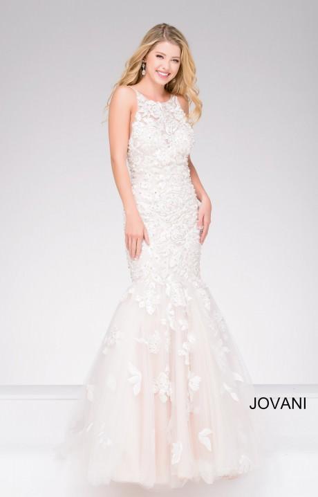 Jovani 45745 Halter Lace And Rhinestone Mermaid Dress