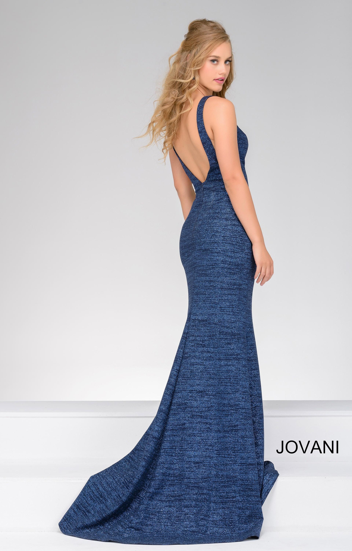 Jovani 45811 - Simmered V Neckline Dress with an Open Back