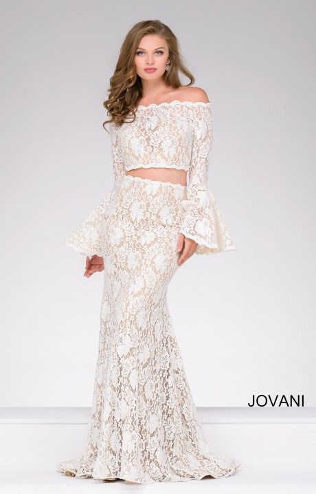 Jovani 45894 Flutter Long Sleeve Off The Shoulder Gown