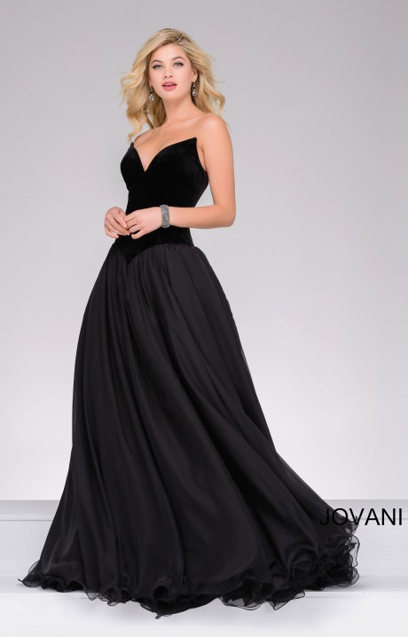 Jovani 46606 Strapless Wing Tip Velvet Ball Gown Dress