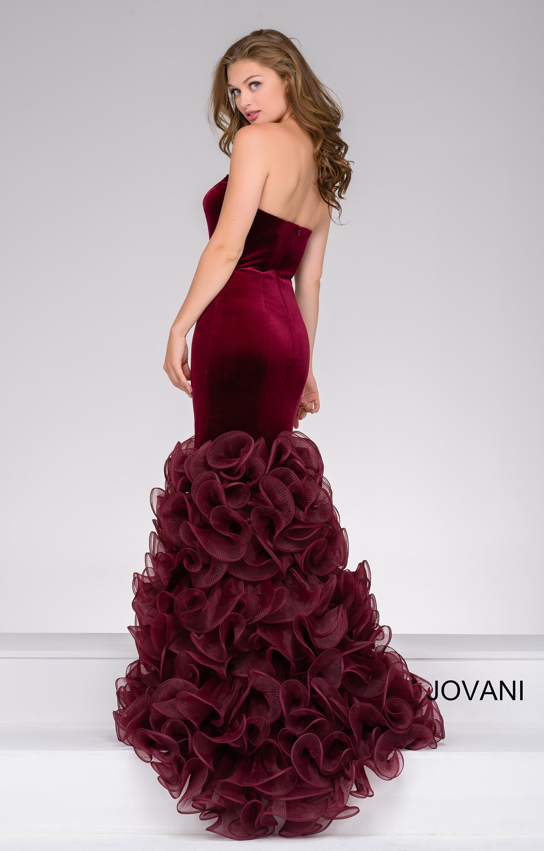 Jovani 46609 Strapless Velvet Mermaid Organza Dress Prom