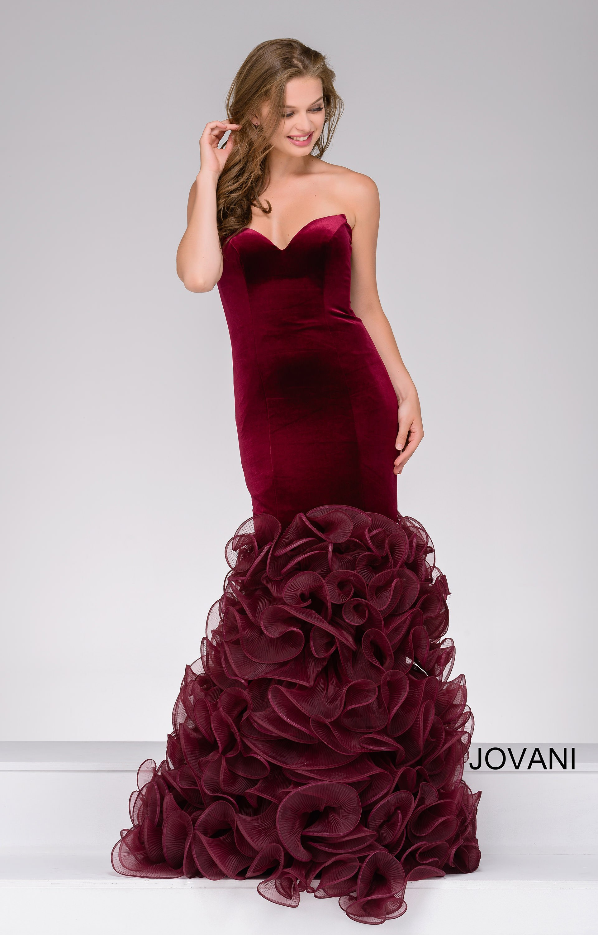 Jovani 46609 Strapless Velvet Mermaid Organza Dress Prom