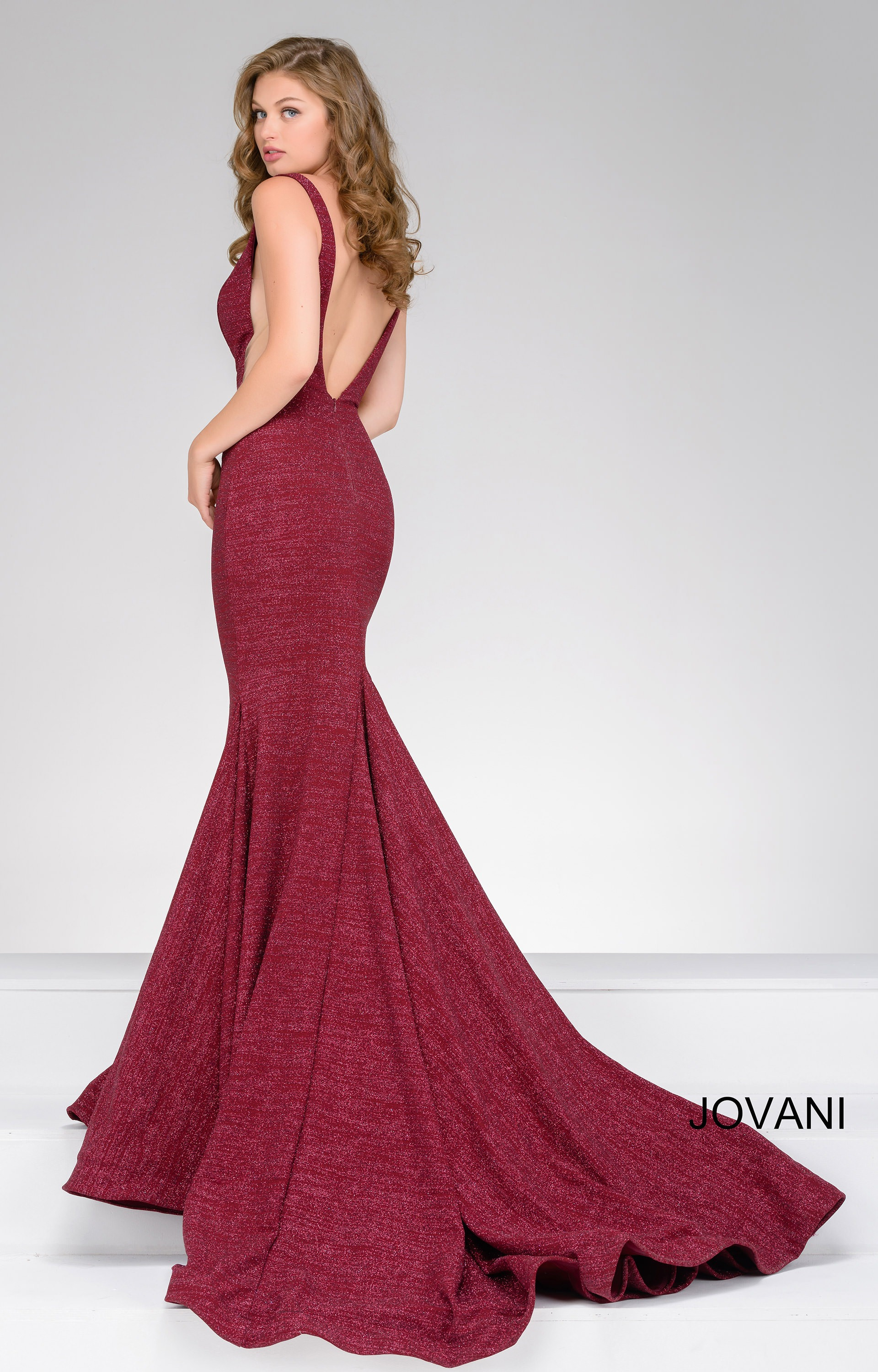 Jovani 47075 Deep V Neckline Simmer Fabric Side Cut Out