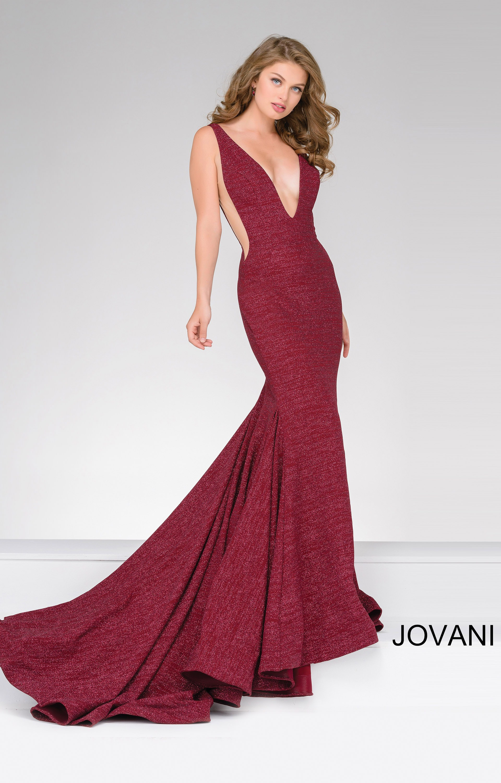 302d714b5847 Jovani 47075 - Deep V neckline Simmer Fabric Side Cut Out Dress