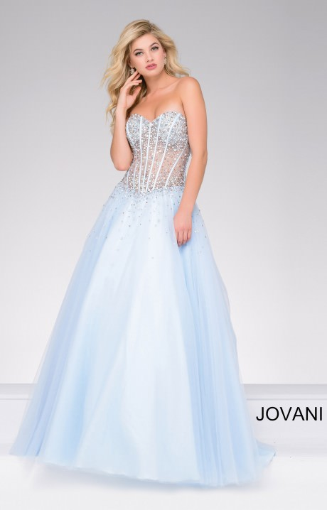 Jovani 47131 Rhinestone Corset Bodice Ballgown Prom Dress