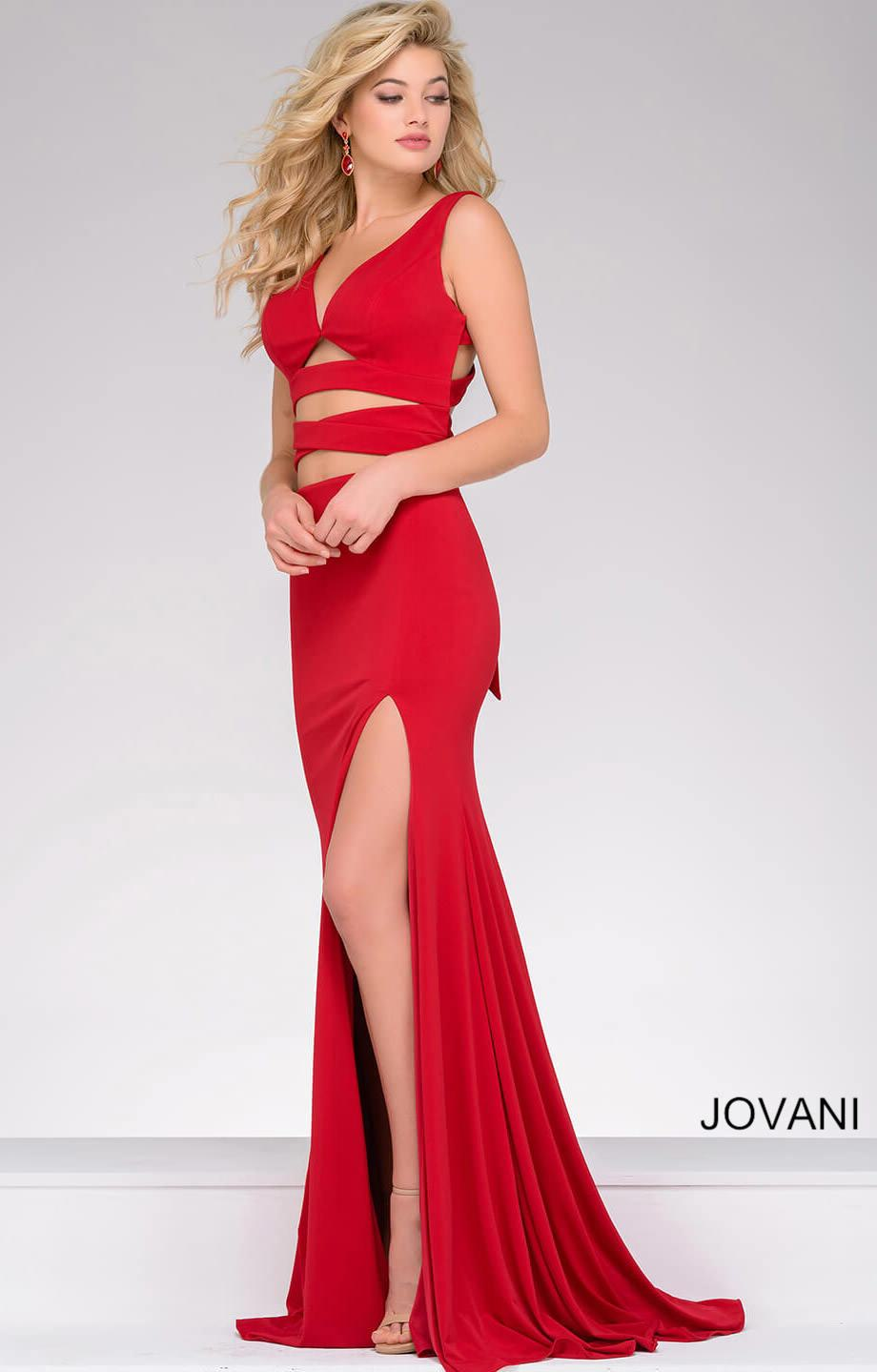 Jovani 47501 Adjustable 2 Piece High Slit Jersey Dress