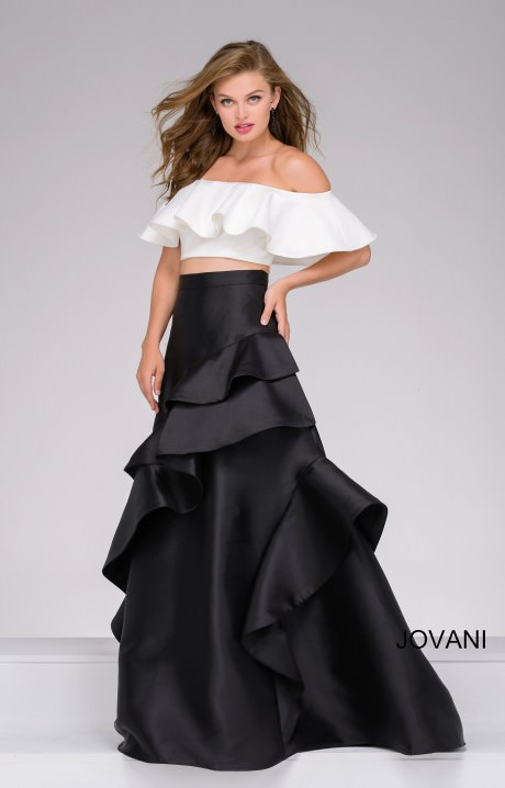 Jovani 47689 Off The Shoulder Ruffle Layered Two Piece