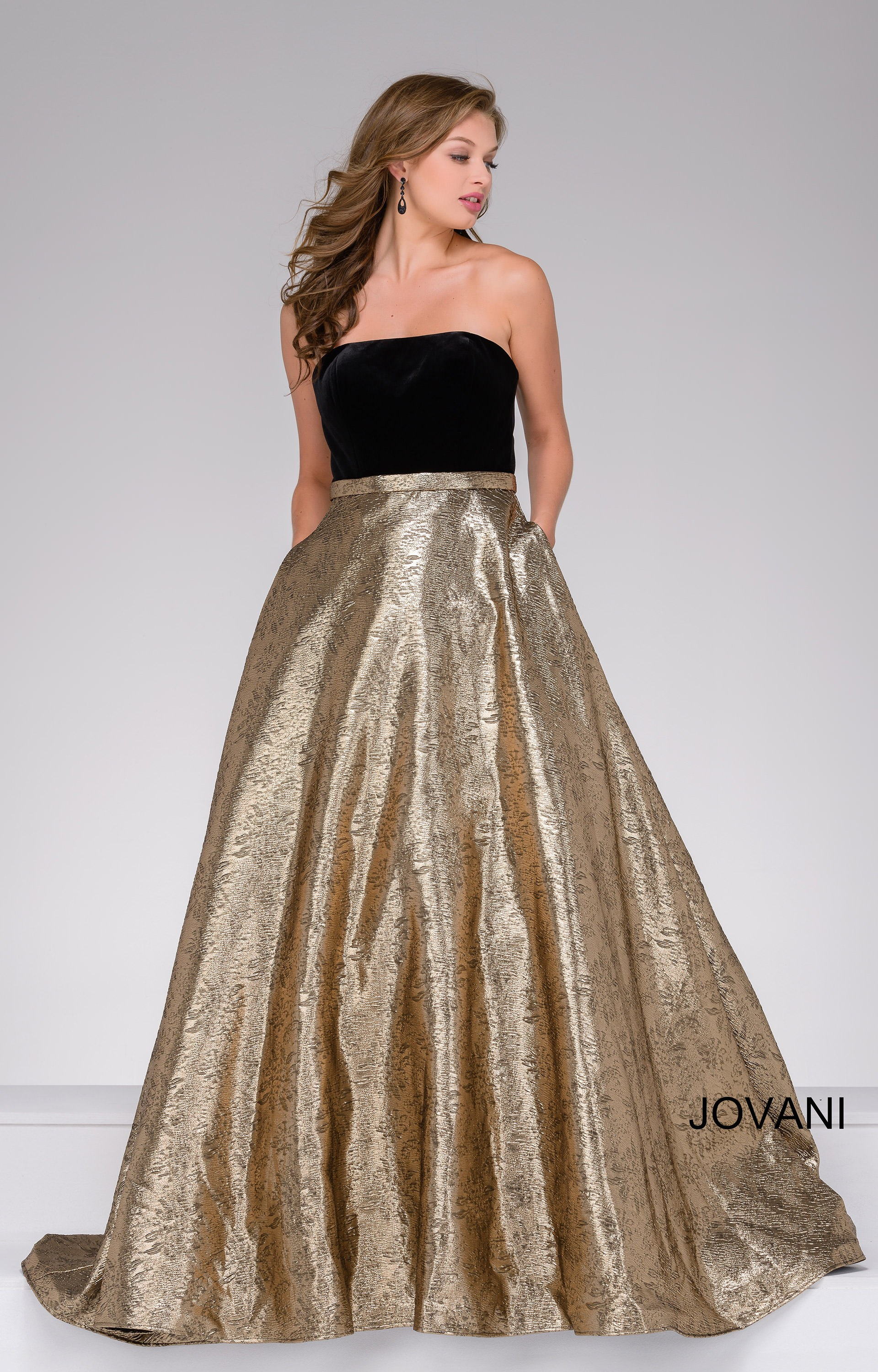 Jovani 47982 - Velvet Strapless top with a Metallic Skirt Ball Gown ...