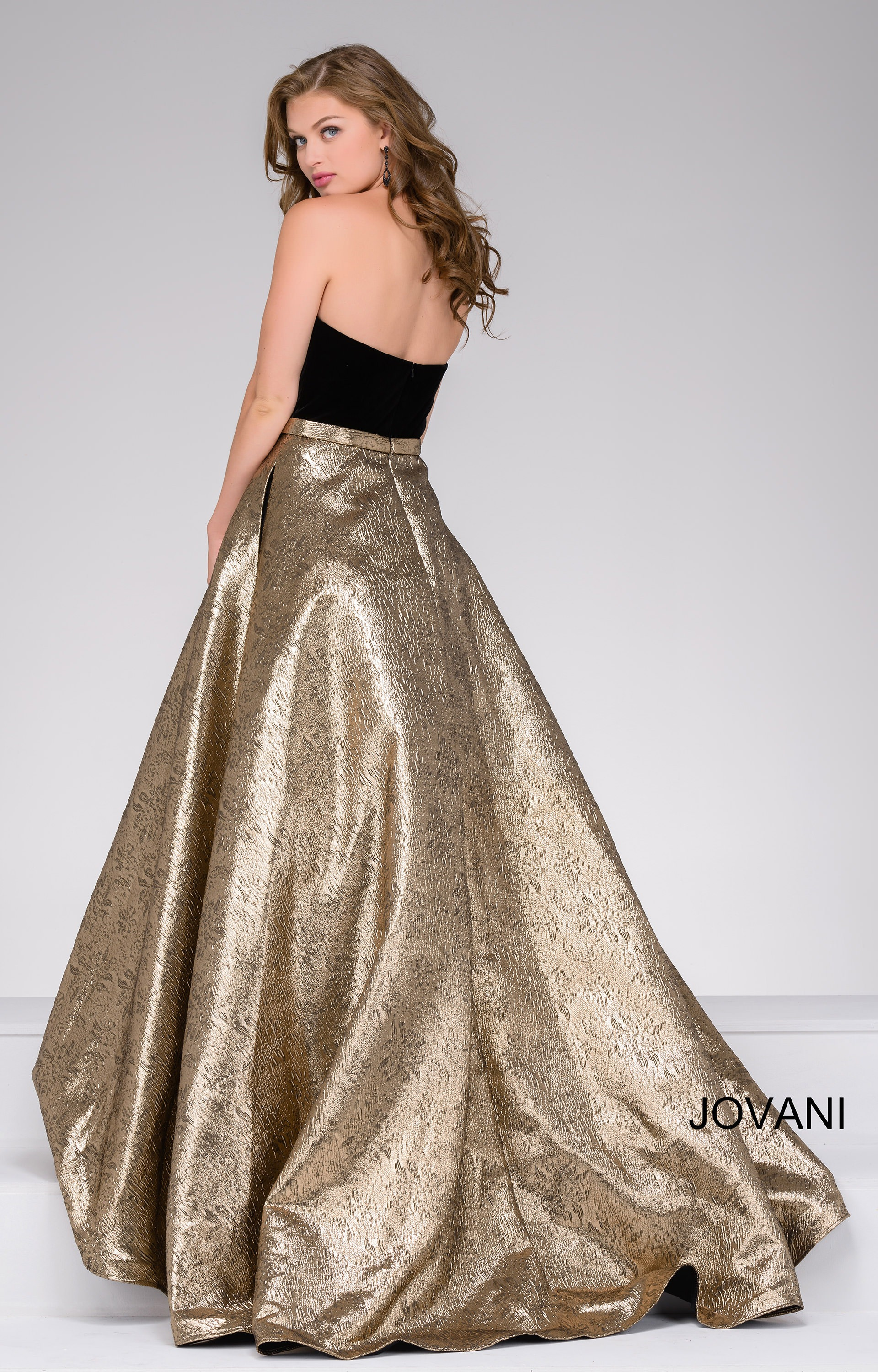 Jovani 47982 Velvet Strapless Top With A Metallic Skirt