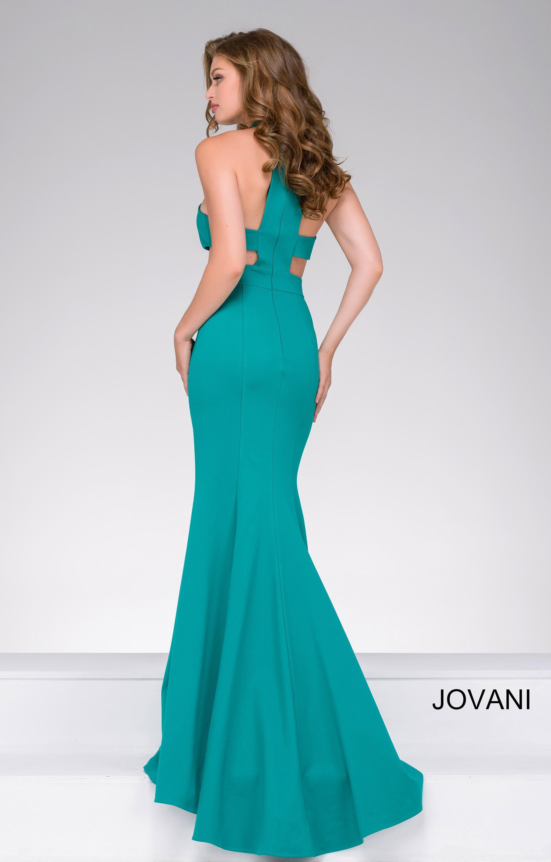 Jovani 48344 Halter Neckline Side Cut Out Fitted Dress