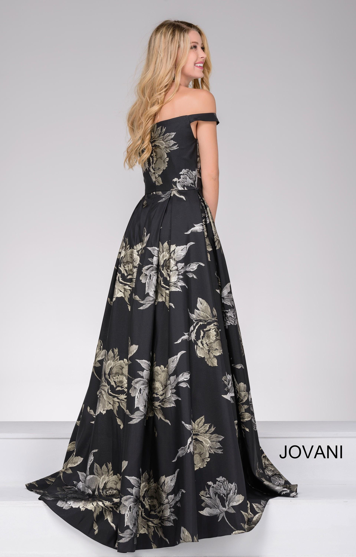 Jovani 48361 Sweetheart Off The Shoulder Flower Printed