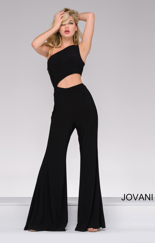 Jovani 48466 Cut Out One Shoulder Pant Suit Prom Dress