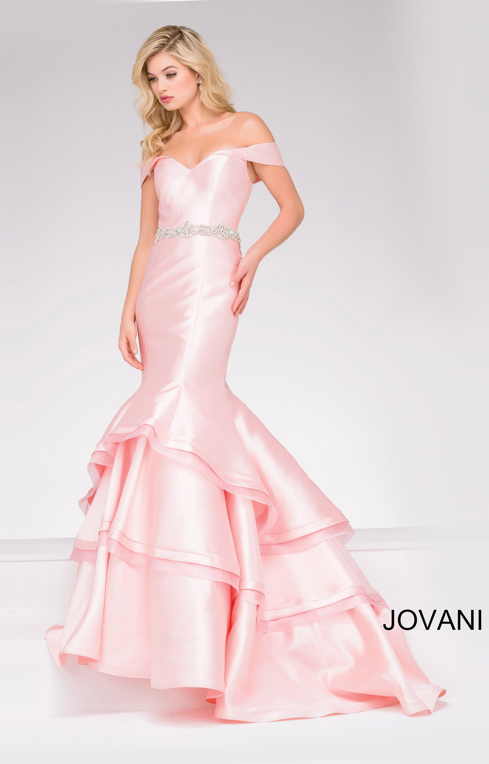 Jovani 48609 Off Shoulder Sweetheart Dress With Layered