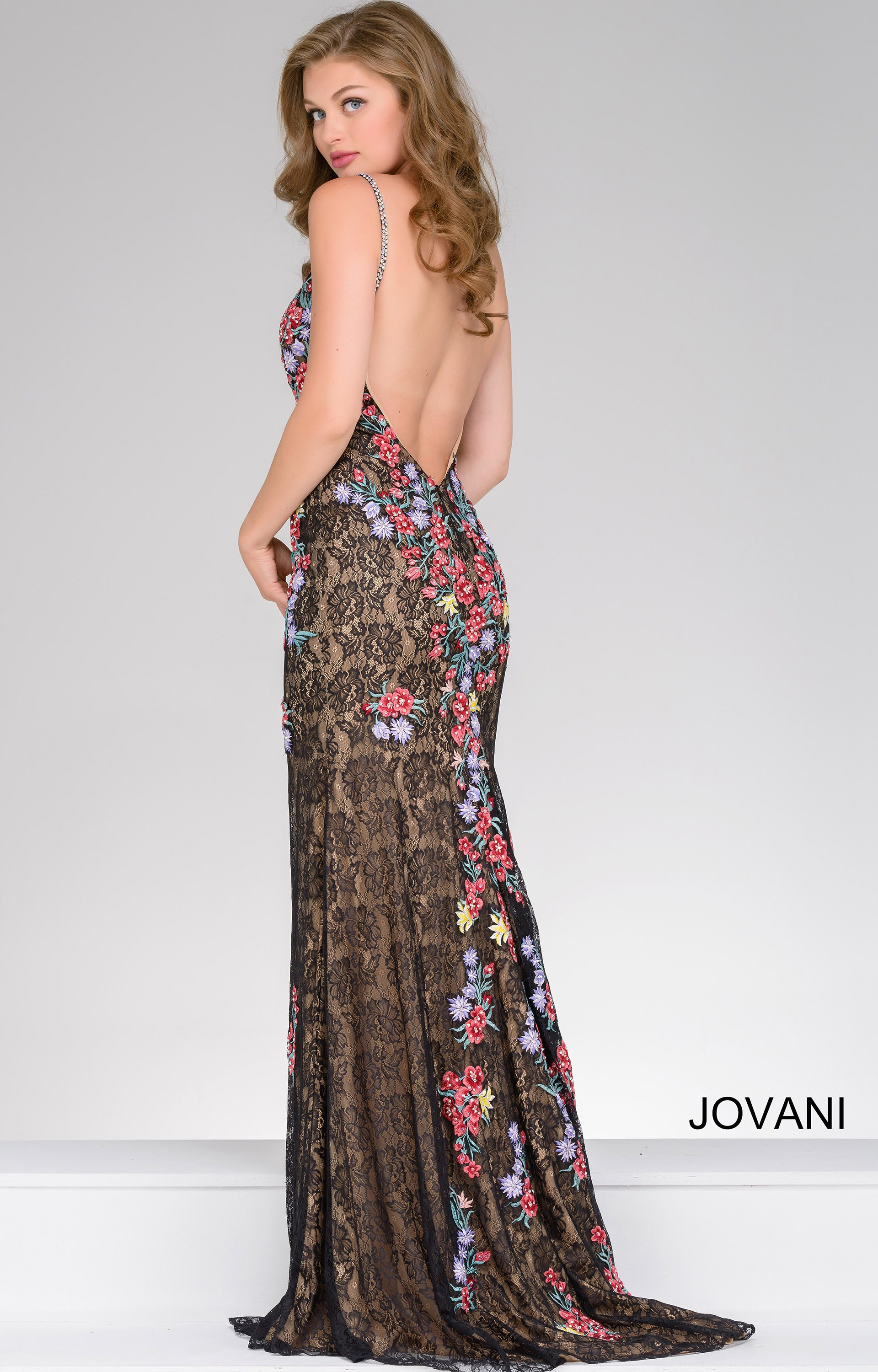 Jovani 48893 - Embroidered Floral and Lace Dress Prom Dress