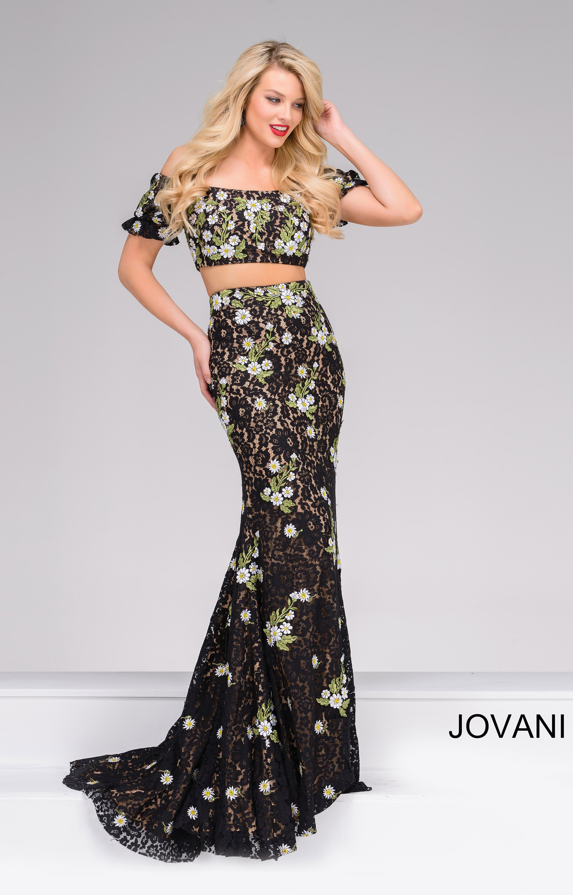 2a68b0d9884 Jovani 48898 - Floral Lace Off Shoulder Two Piece