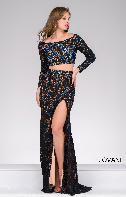 Jovani 48989 Colored Rhinestone 2 Piece Long Sleeve Lace